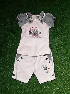 2-tlg Set Mädchen Shirt + Shorts Gr 68 Ca. 9 Monate Weiß Blau Von Caramell Hitze Und Durst Lindern.