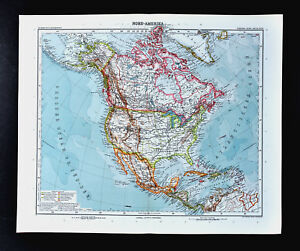 Details about 1911 Stieler Map North America United States Canada Mexico  Alaska Cuba Caribbean