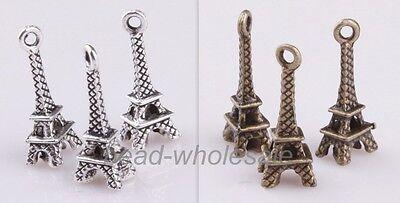 30pcs Popular Retro Silver/Bronze Small Eiffel Tower Charm Pendant For Necklace
