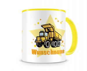 Kinder-Tasse mit Namen und einem Kipplaster LKW als Motiv Bild Kaffeetasse