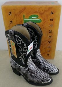 819f5efba85 LAREDO LC2103 KID'S BLACK WHITE SNAKE PRINT COWBOY BOOTS NEW IN BOX ...