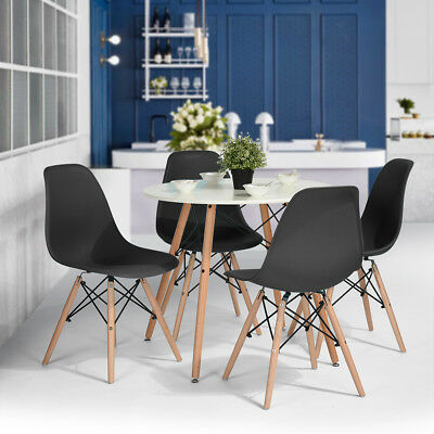 Set Of 4 Eames Style Kitchen White Dining Chair Lounge Side Chair Plastic&Wood