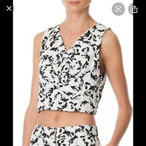 Tibi NWT $295 Black & White Koi Jacquard Twisted Crop Top SZ 4 S