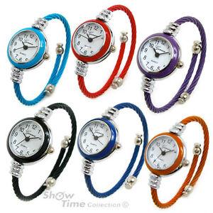 Geneva-Cable-Band-Women-039-s-Small-Size-Bangle-Cuff-Watch