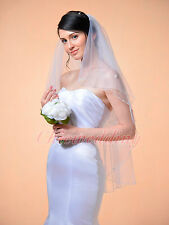 2T White Wedding Bridal Veil Handmade Flower Beads Sequins Edge with Comb Pearls