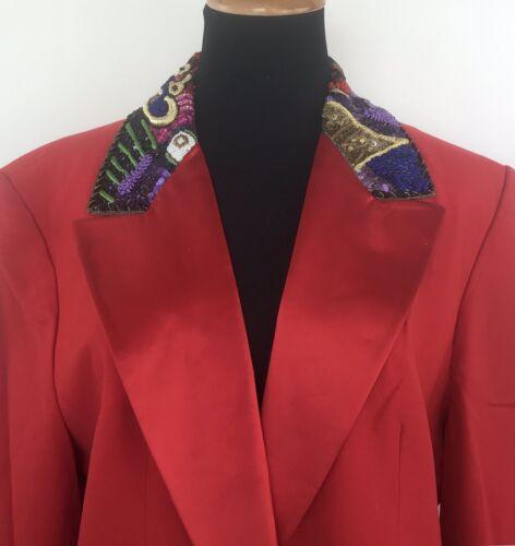 Louis Feraud Womens Vintage Red Beaded 80's 90's B