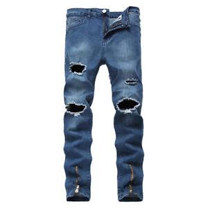 Men-039-s-Stretchy-Ripped-Skinny-Biker-Jeans-Destroyed-Tapered-Slim-Denim-Pants-Blue