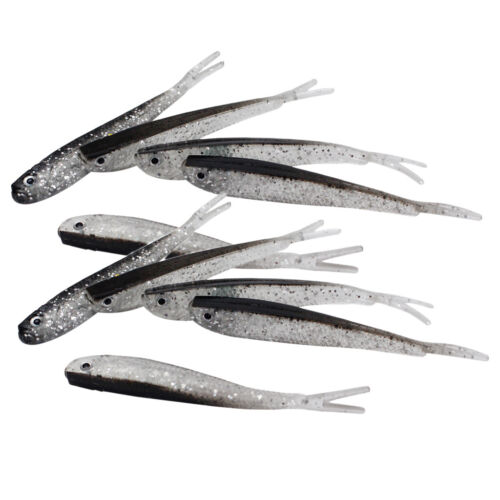 10 Pieces Soft Fishing Lures Baits Artificial Lifelike Baits with 3D Fisheye