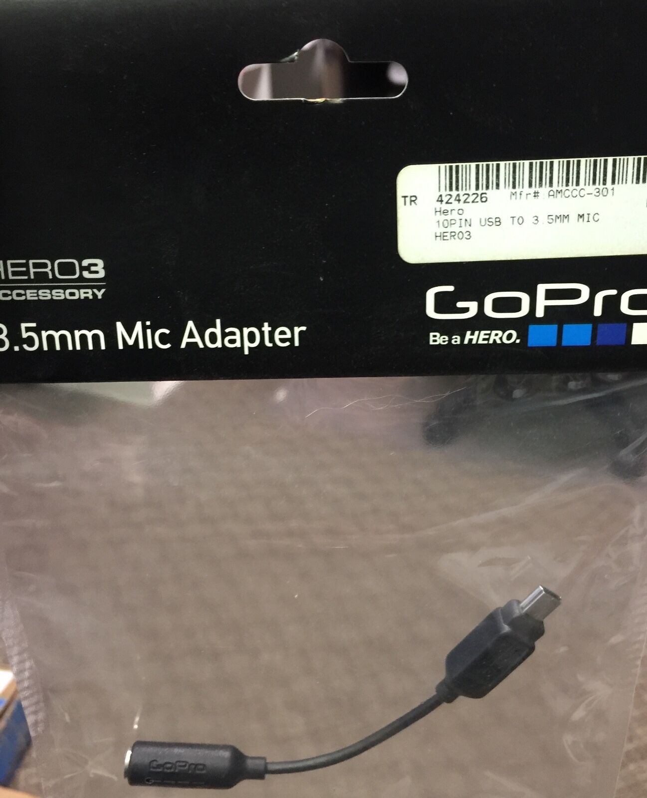 GOPRO 3.5MM MIC ADAPTER HERO3+HERO4+LAPEL Microphone Audio Sound Plug Cable plug