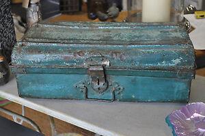 Image Is Loading Vintage Metal Trunk Painted Blue Storage Trunk