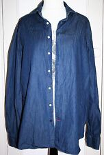 TOMMY HILFIGER Tailored Denim Shirt Fitted 43/17 Quality Lightweight 100%Cotton