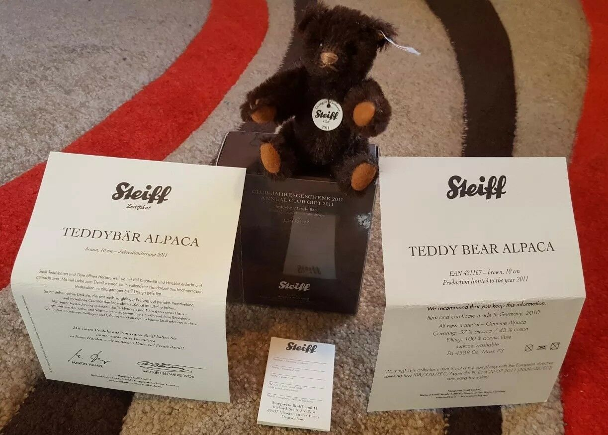 Original Pristine German Steiff ALPACA Bear Collectable L.Ed in Box