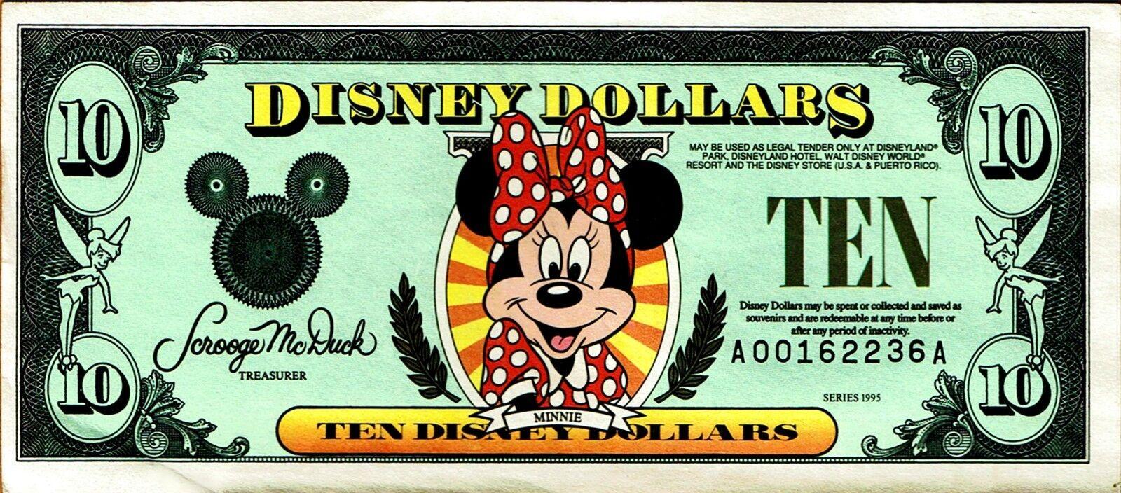 New Disney Dollars 1995 A 10 Ten Dollar Minnie Mouse