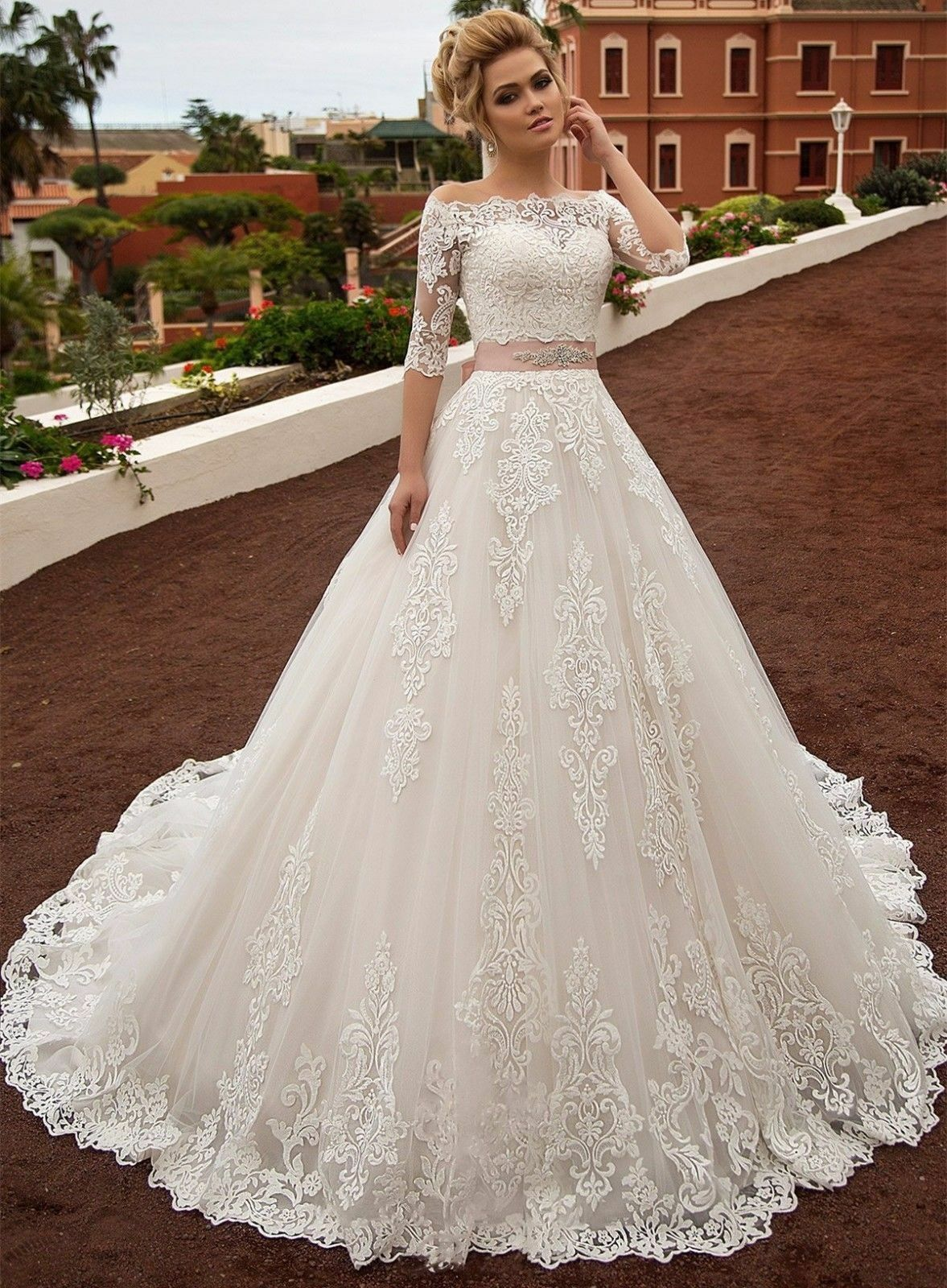 Hot Sweetheart A-Line Tulle Lace Wedding dresses Pink Ribbon Sash Bridal Gown
