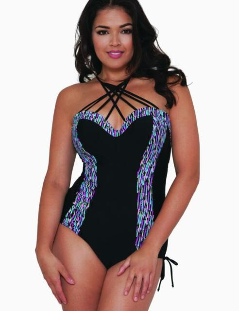 Curvy Kate Galaxy Underwired Padded Swimsuit Cs3757 Black Swimming
