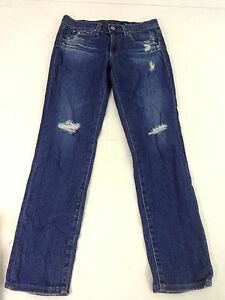 NWOT ADRIANO GOLDSCHMIED AG JEANS WOMENS DARK WASH DESTROYED JEANS SIZE 26