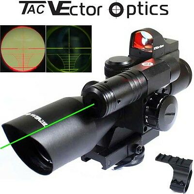 2.5-10X40 Tactical Sniper Hunting Rifle Scope Green Laser Red dot Mount Combo