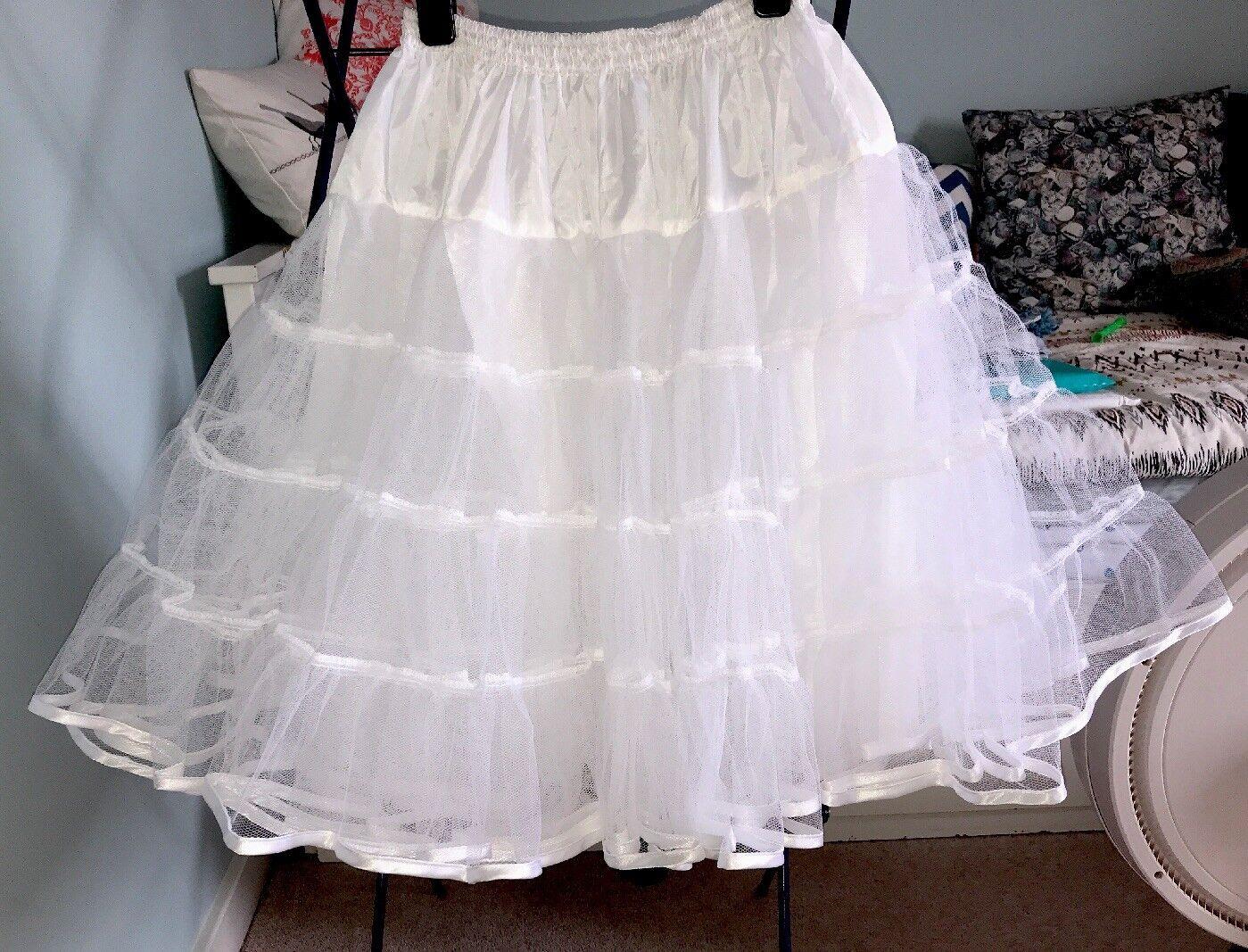 """Honeypie Boutique Petticoat 50s Pin Up White Satin Bound 26"""" Waist 8 Wedding"""