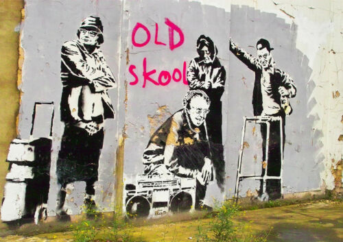 BANKSY STREET ART OLD SKOOL GLOSSY WALL ART POSTER A1 - A5 SIZES AVAILABLE