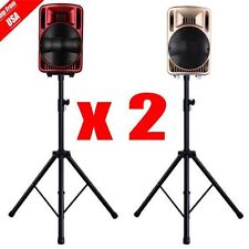 2x Black Heavy Duty Tripod DJ PA Speaker Stand Adjustable Height - Pair New