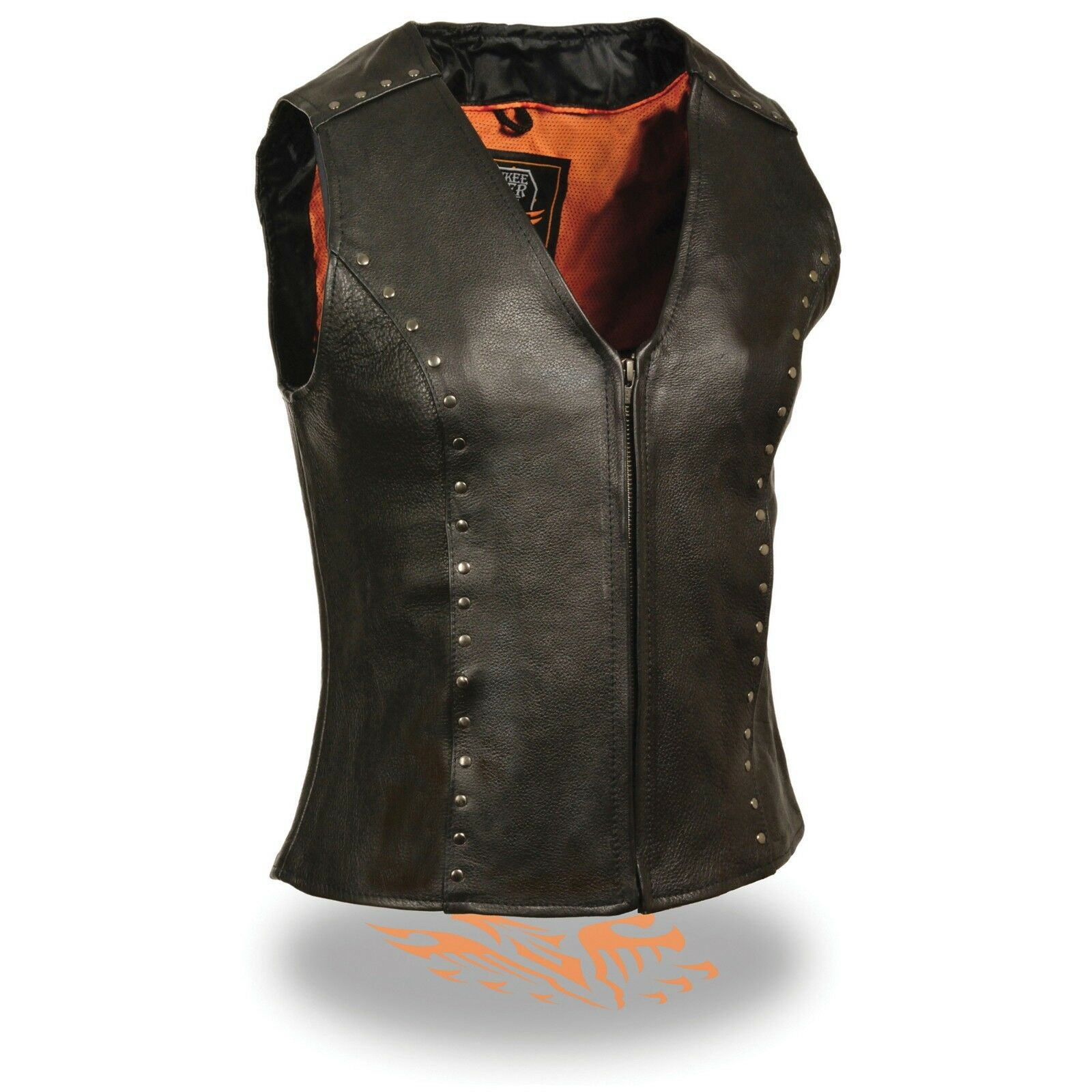 Milwaukee Leather Women's Zipper Front Vest W  Rivet Detailing ML2078