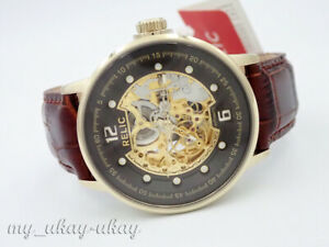 RELIC-by-Fossil-ZR77241-Gold-Skeleton-Dial-Brown-Leather-Automatic-Men-034-s-Watch
