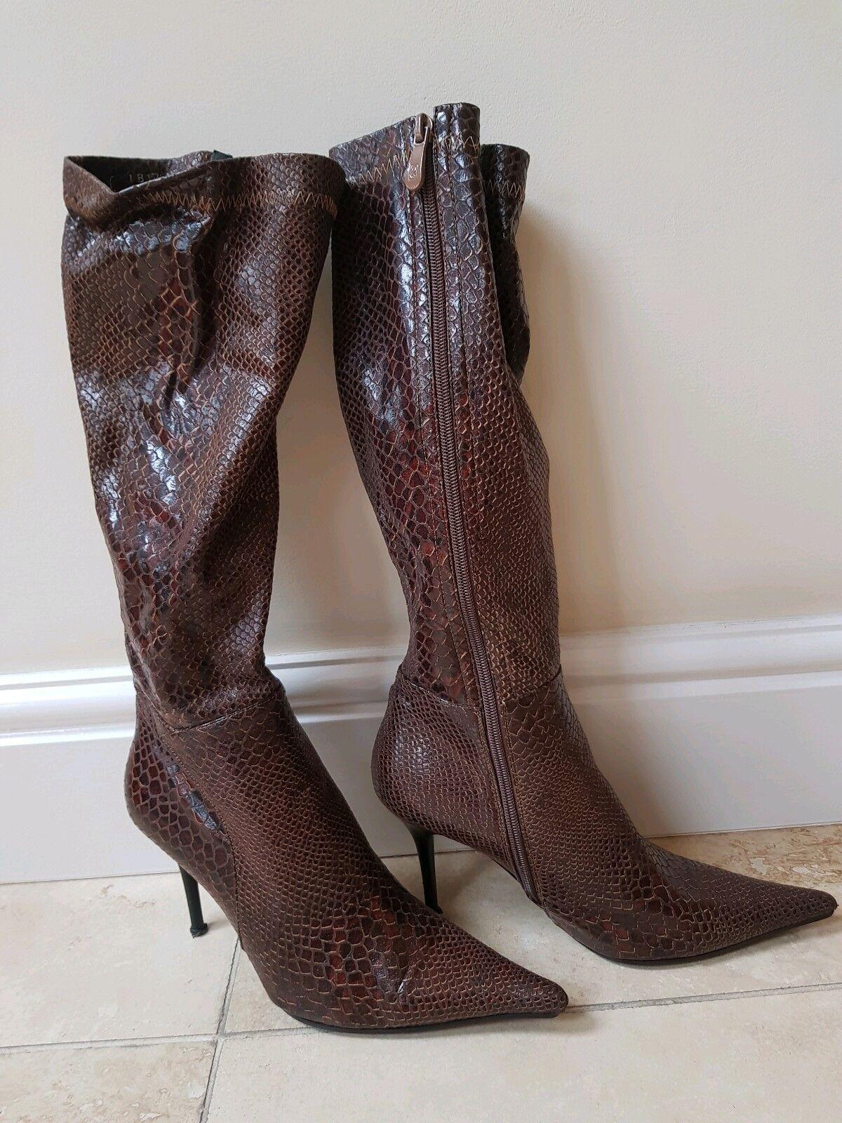 Femme Marron Genou à Talon Haut Extensible Chaussures Animal Reptile UK5 38