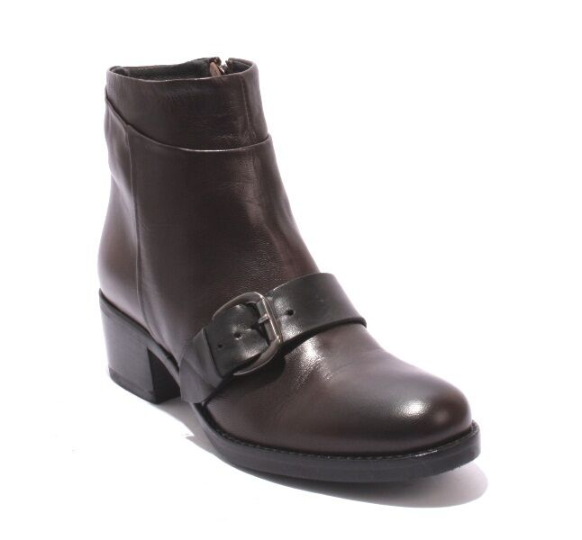 Mally 5431 Brown / Black Leather / Zip-Up / Buckle Ankle Heel Boots 36 / US 6