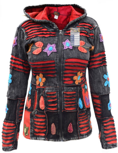 Hippy Psychedelic Embroidery Cotton Ribs Emo Funky Elf Pointed Hoodie Jacket