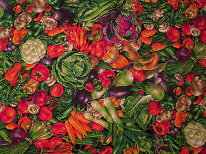 "15 Yards By 44"" Joan Messmore Fabric, Cranston Print Works, Vegetables, Harvest"