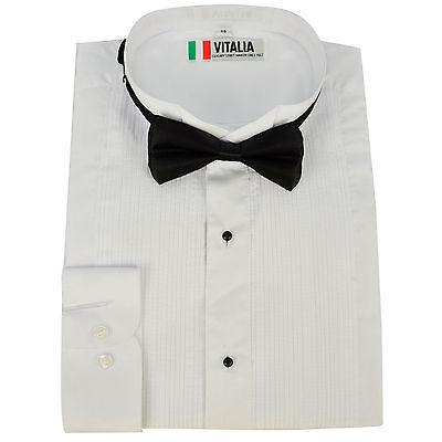 Mens Evening Dinner Dress Tux Tuxedo Shirt & Bow Tie Bowtie Xmas Party Wedding