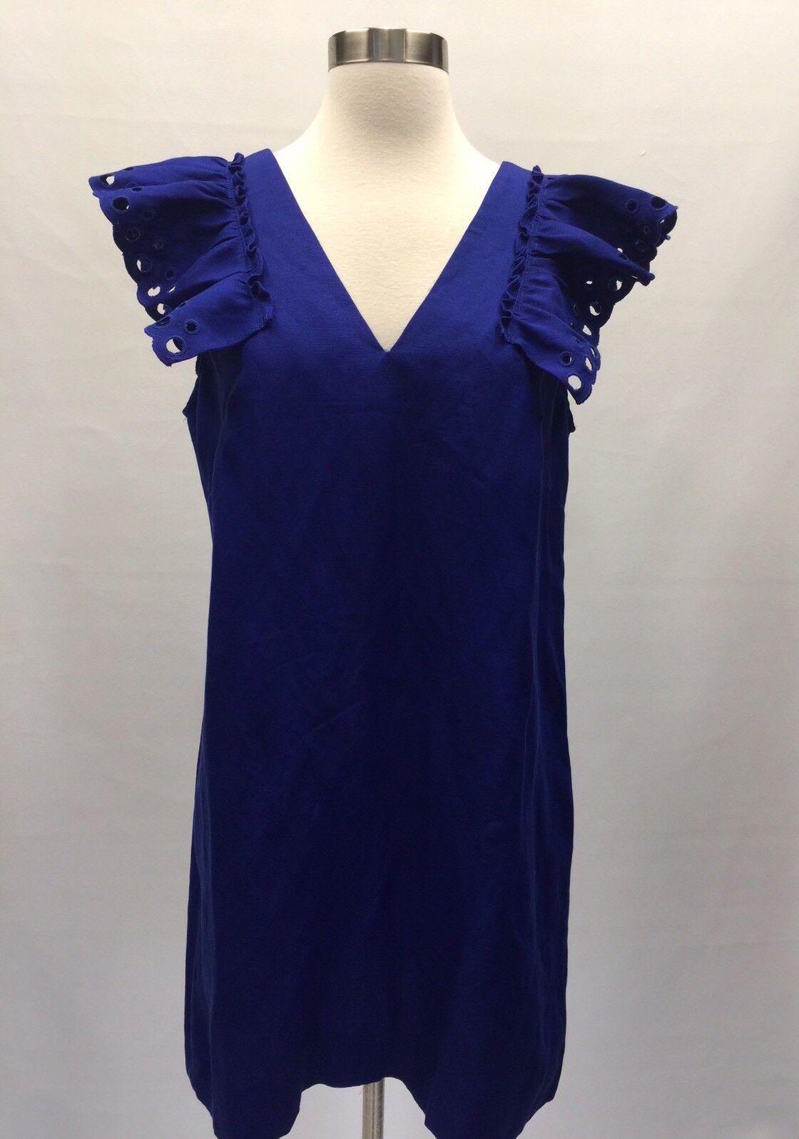 New JCREW COLLECTION Petite ruffle-shoulder sheath dress Blau G6654 10P Sold Out