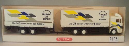 Wiking 1//87 Nr 598 01 37 MAN Hängerzug Wechselpritsche MAN Berlin OVP #3423