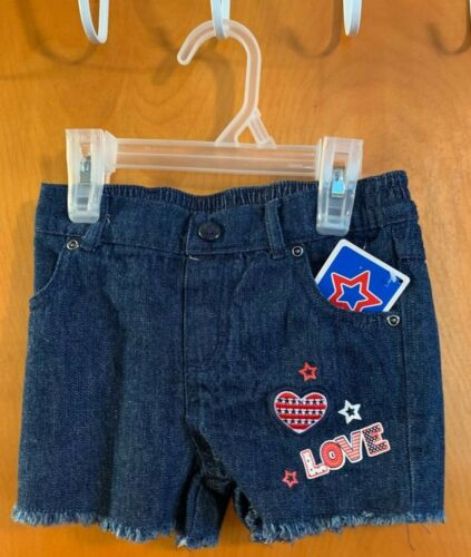 4th of July Patriotic Red White Blue Stripes Stars Denim Jean Short Outfit