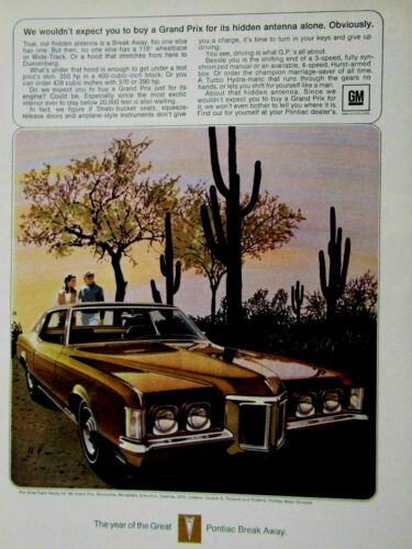 1969 Pontiac Grand Prix The Desert  Fitz /& Van Art Original Print Ad 8.5 x 11/""