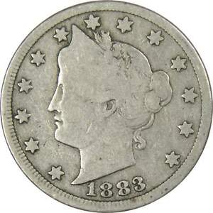 1883-With-Cents-Liberty-Head-V-Nickel-G-VG-Good-Very-Good-5c-US-Coin