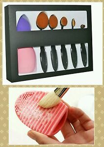 5pcs-Oval-Makeup-Brush-Black-w-blender-and-cleaner-free-shipping