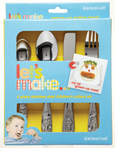 Kitchen Craft Childrens Stainless Steel Cutlery Set Knife Fork /& 2 Spoons