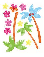 Hawaiian Aloha Luau Blue Green Palm Trees Tropical Flowers Sticker Decal Wallies