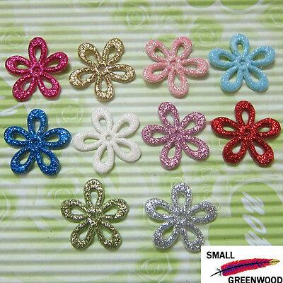 """(U Pick) Wholesale 50-500 Pcs 1"""" Felt Shiny Flower Appliques For Hair Bows F2900"""