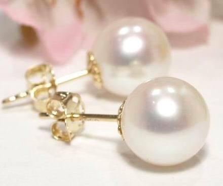 LUXURY 7,5mm Akoya Pearl Earrings 585 14K Yellow gold (SH2a)