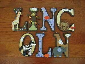 Custom Hand Painted Wood Letters Lambs Ivy Ss Noah 39 S Ark Baby Crib Bedding New Ebay