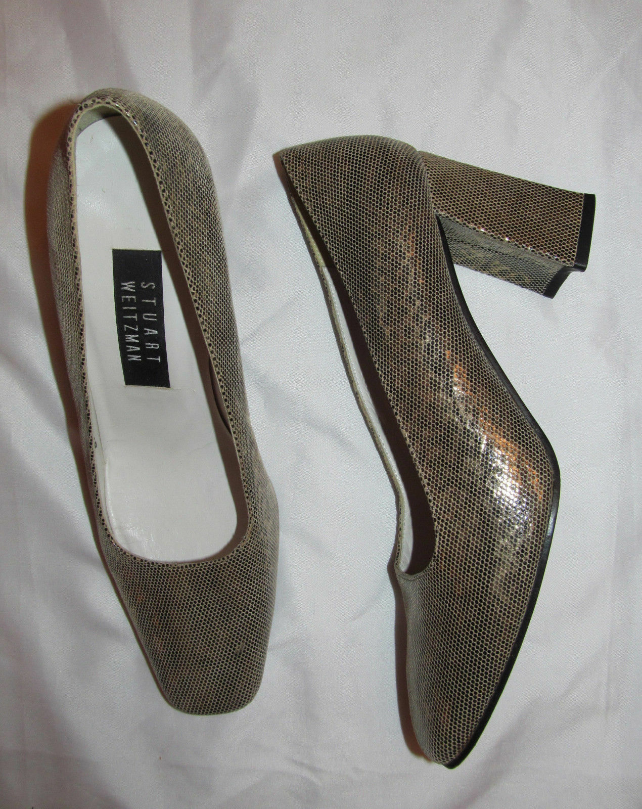 STUART WEITZMAN metallic iridescent snake python block heel  pumps shoes 7.5