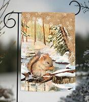 Toland - Snowy Squirrel - Cute Winter Snowflake Forest Garden Flag