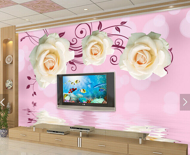 3D Weiß Rose 546 Wallpaper Murals Wall Print Wallpaper Mural AJ WALL AU Kyra