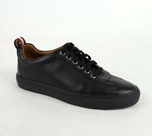 475-Bally-Men-039-s-Black-Perforated-Leather-Lace-Up-Sneaker-US-8-5D-EU-7-5-HENDRIK