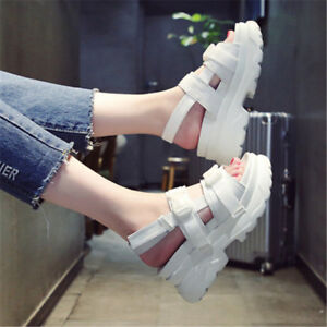 Women's Girls Preppy Roman Platform Creeper Sports Sandals Shoes Comfy Sneakers