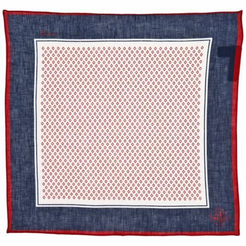 100% Linen Blue & Red Pocket Square