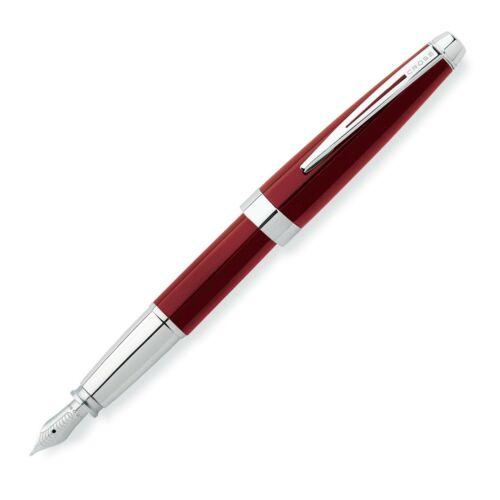 Brand New Cross Aventura Fountain Pen Fire Engine Red /& Chrome Medium Nib