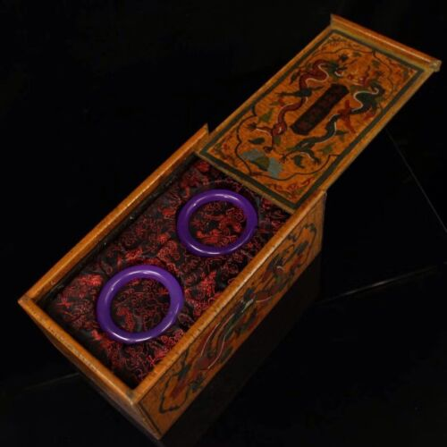 Chinese Qing Dynasty Palace collection Purple jade bracelet Box